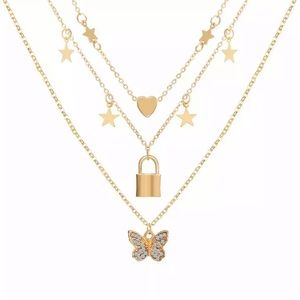 Trendy Layered Butterfly & Stars Necklace - Gold